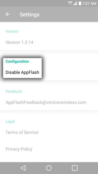 AppFlash Configuration Option