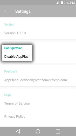 AppFlash Configuration Option