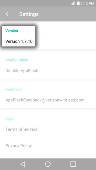 AppFlash Settings Screen