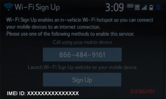 Wi-Fi Sign Up screen with IMEI ID