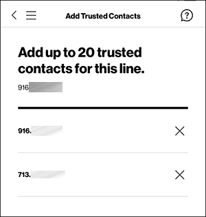 Add Trusted Contacts screen