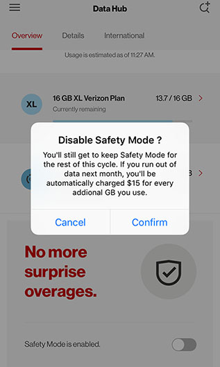 Safety Mode Toggle Pop-Up