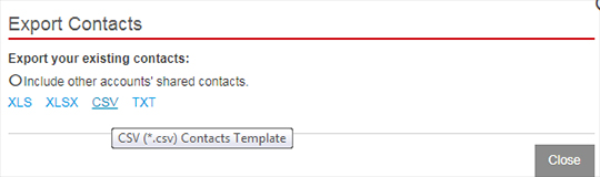 Export contacts file type