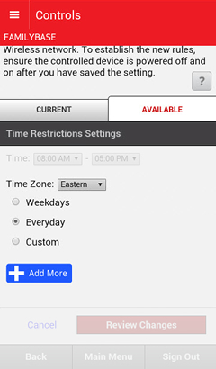 Time Restrictions Settings with Time Zone field