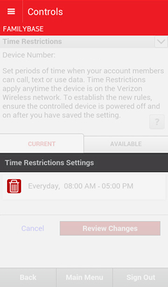 Time Restrictions Settings with current restrictions