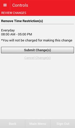 Review Changes screen with the Submit Changes