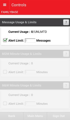 Message Usage and Limits with available options