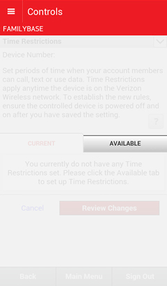 Time Restrictions screen with the Available tab