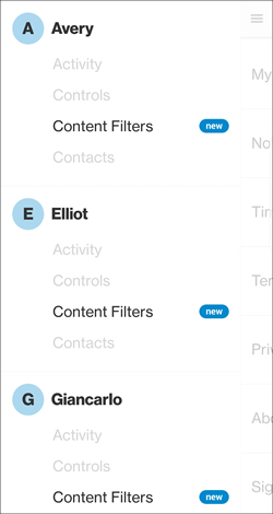 Menu with Content Filters
