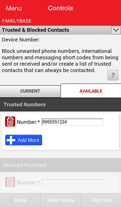 Trusted & Blocked Contacts screen with Trusted Numbers section
