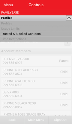 Dropdown menu with Trusted & Blocked Contacts