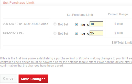 Usage Limits Purchase addition