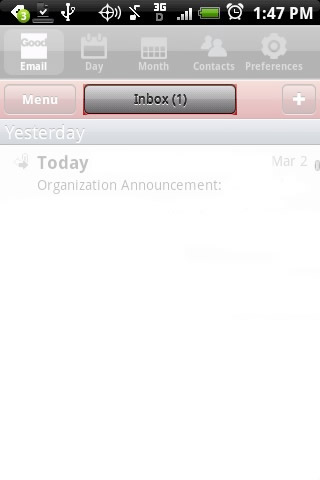 From the Email tab, touch the existing folder