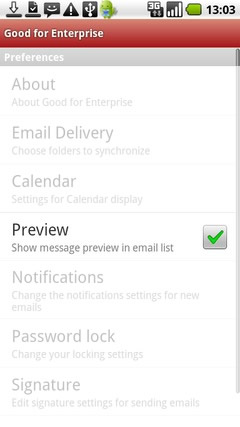 Touch Preview to enable / disable message preview