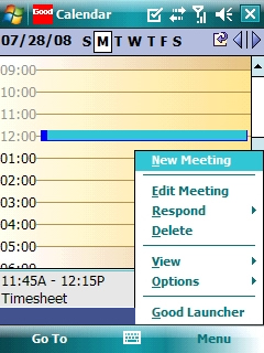 Calendario con Menu > New Meeting seleccionado=