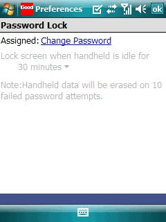Password Lock menu with Change Password highlighted