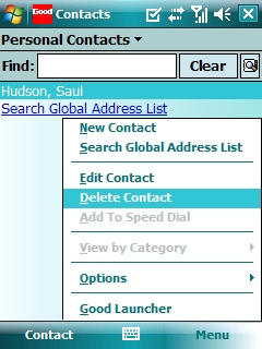 Contacts with Screen Menu