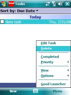 Tasks screen with Menu > Delete selected=