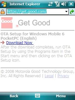 Sitio web Get Good y opción Download Now resaltada