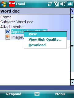 Open email message with desired email attachment selected=