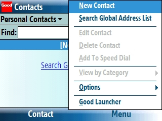 Contacts screen with Menu > New Contact selected=