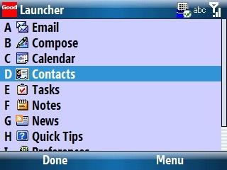 Good Launcher con Contacts seleccionado