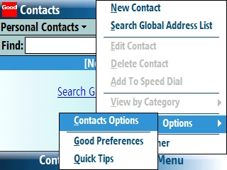Contacts with Menu
