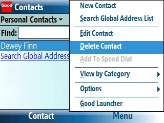 Contacts screen with Menu > Delete Contact selected=