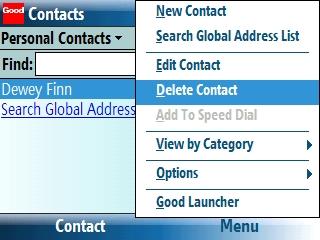 Pantalla de Contacts con Menu > Delete Contact seleccionado=