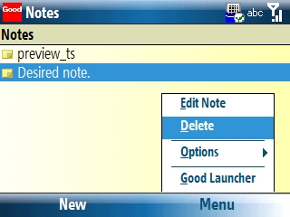 Notes screen with Menu > Delete selected=