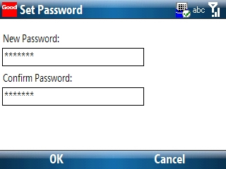Set Password screen with a password entered into the New and Confirm Password fields