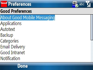Good Preferences screen