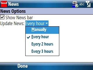 News Options screen