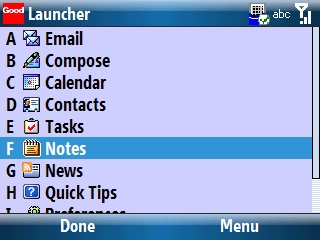 Good Launcher with Notes selected=