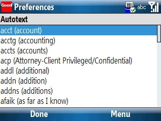 Preferencias de Autotext