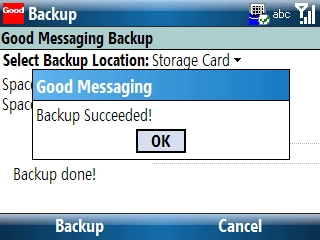 Good Messaging Backup confirmation screen with OK highlighted