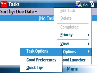 Tasks with Menu