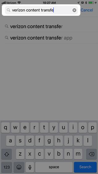 Enter Verizon Content Transfer
