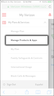 Tap Manage Products & Apps