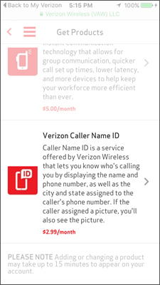 Tap Verizon Caller Name ID
