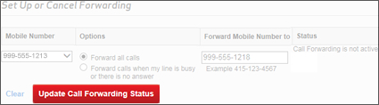 Click Update Call Forwarding Status