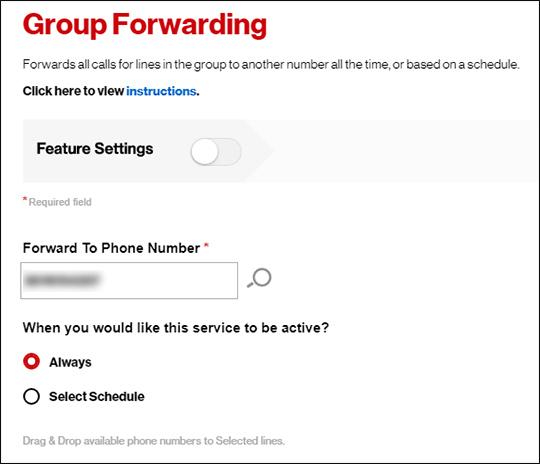 Group Forwarding settings