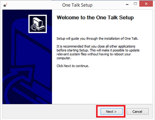 One Talk Setup screen