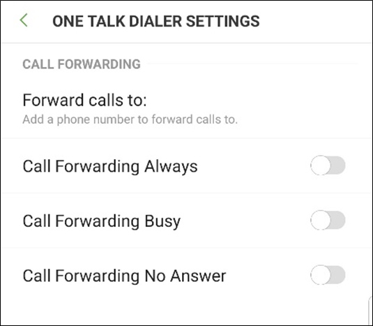 One Talk dialer settings menu