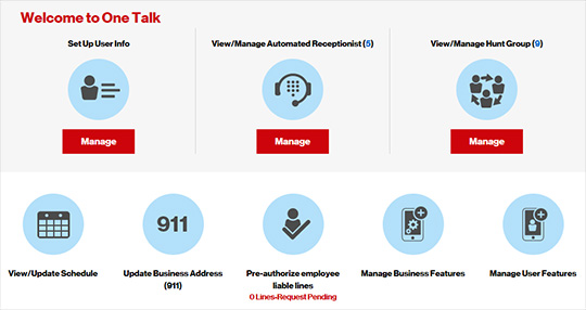 View manage automated receptionist one talk portal verizon quick tasks section m4hsunfo