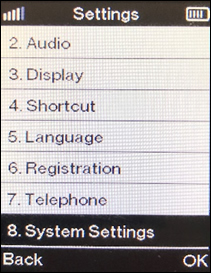 Pantalla System settings