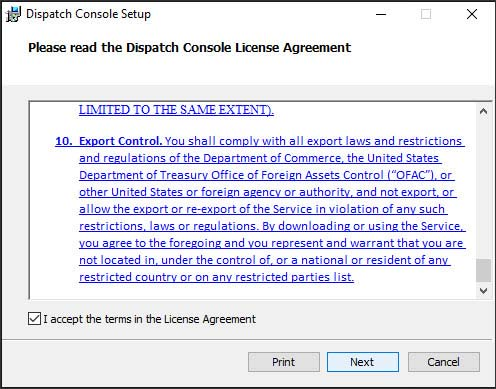 Dispatch Console license agreement screen