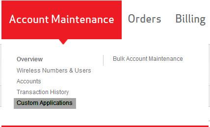 Custom Applications link