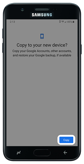 Copy notification on old device with emphasis on Copy button