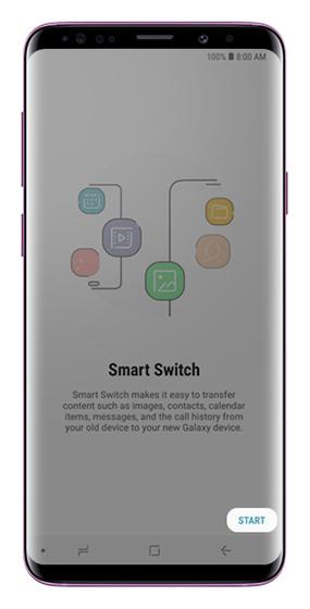 Smart Switch start screen